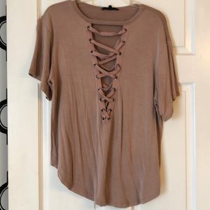 Lace up short  sleeve shirt mauve large olivaceous